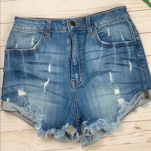 Fashion nova high rise jean shorts